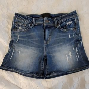 Buckle black distressed shorts